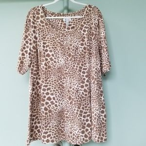 D & CO Womens Beige Animal Print Flared Tunic 2X